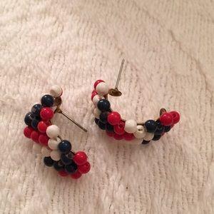Red white & blue lucite beaded half hoop earrings